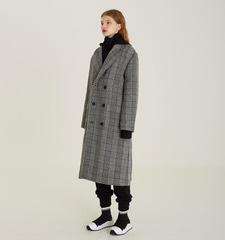 [18FW][70% 세일] Detachable Hood Check Coat (BK)