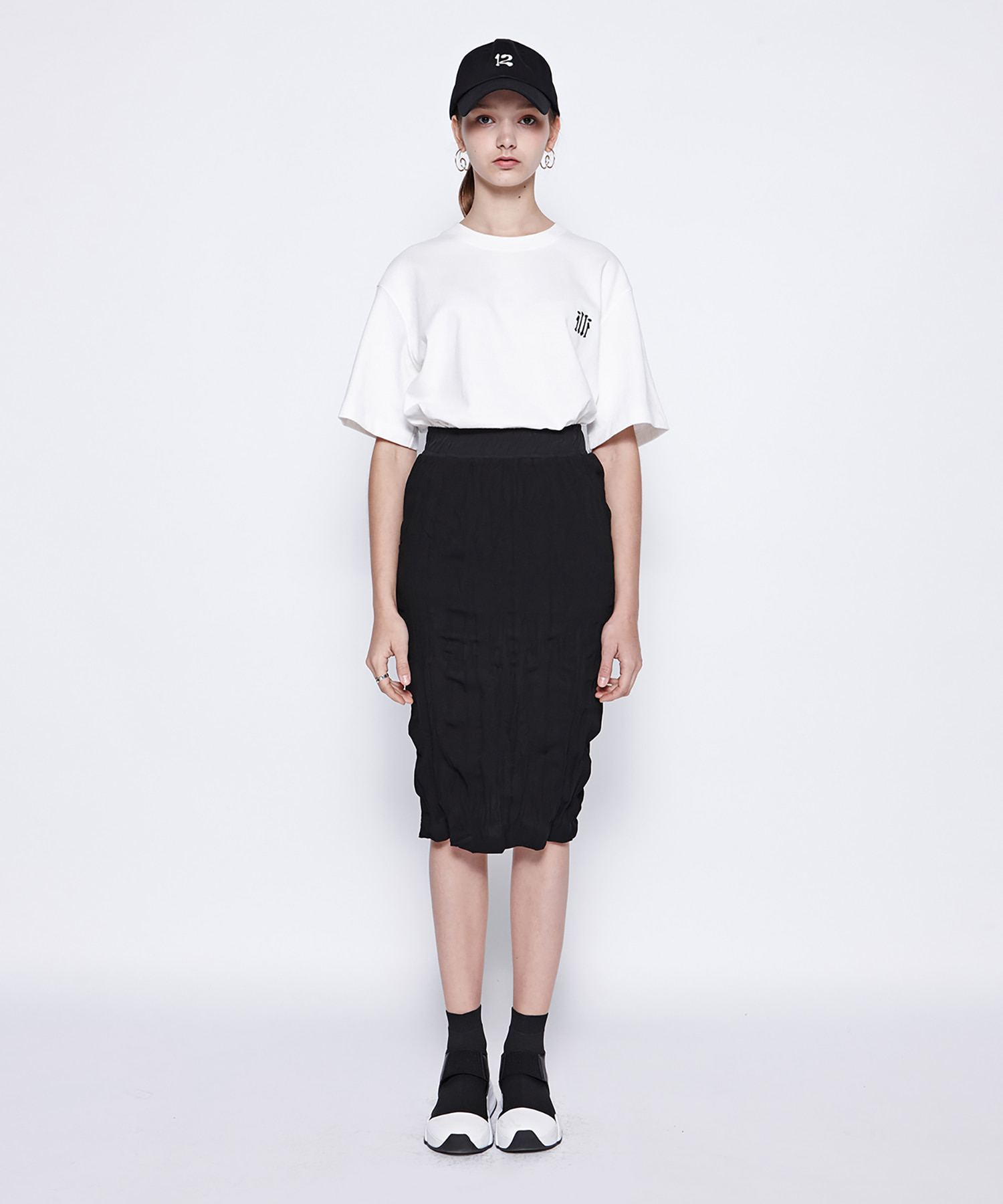 [19SS][40% 세일] Washing Pleats Midi Skirt (BK)