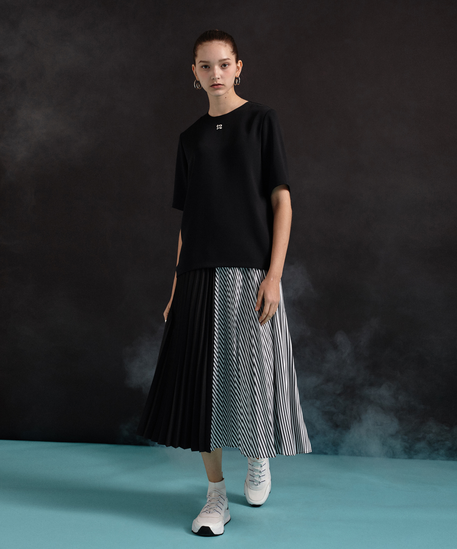 [19SS] Stripe Pleated Long Skirt (BK)