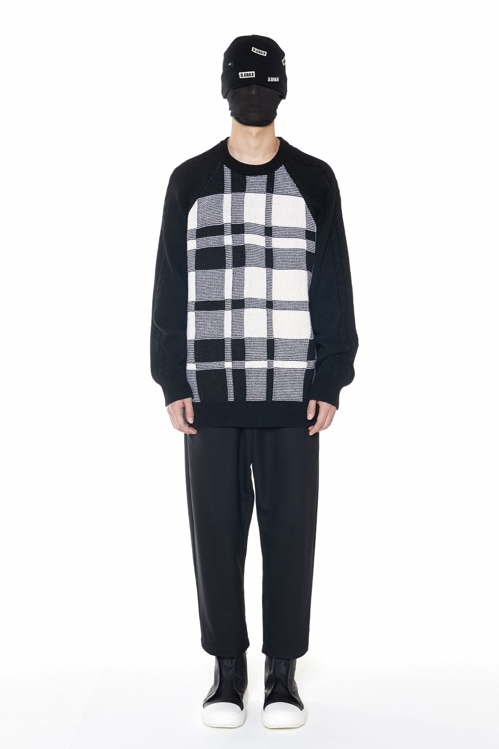 [12DAY][50%SALE] Check Round Knit (BK)_ PA3KN0101